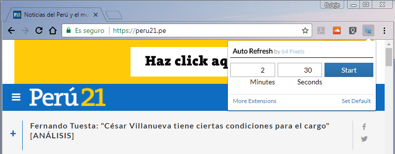Autorefresh en chrome