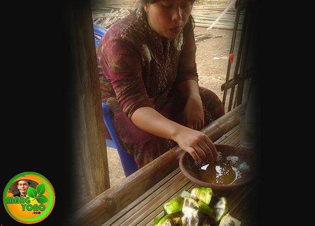 Foto ilustrasi makan rujak mengkudu muda