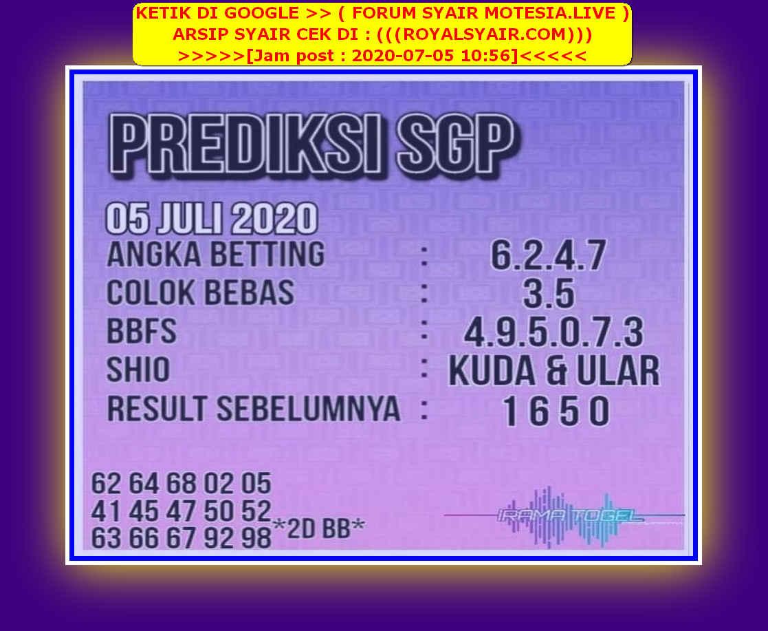 Kode syair Singapore Minggu 5 Juli 2020 72