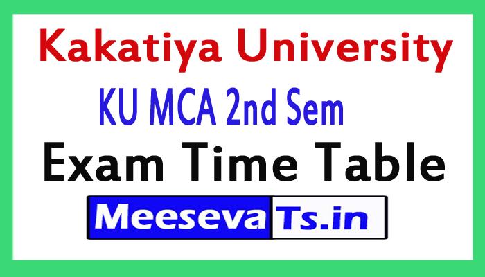 Kakatiya University MCA 2nd Sem Exam Time Table 2017