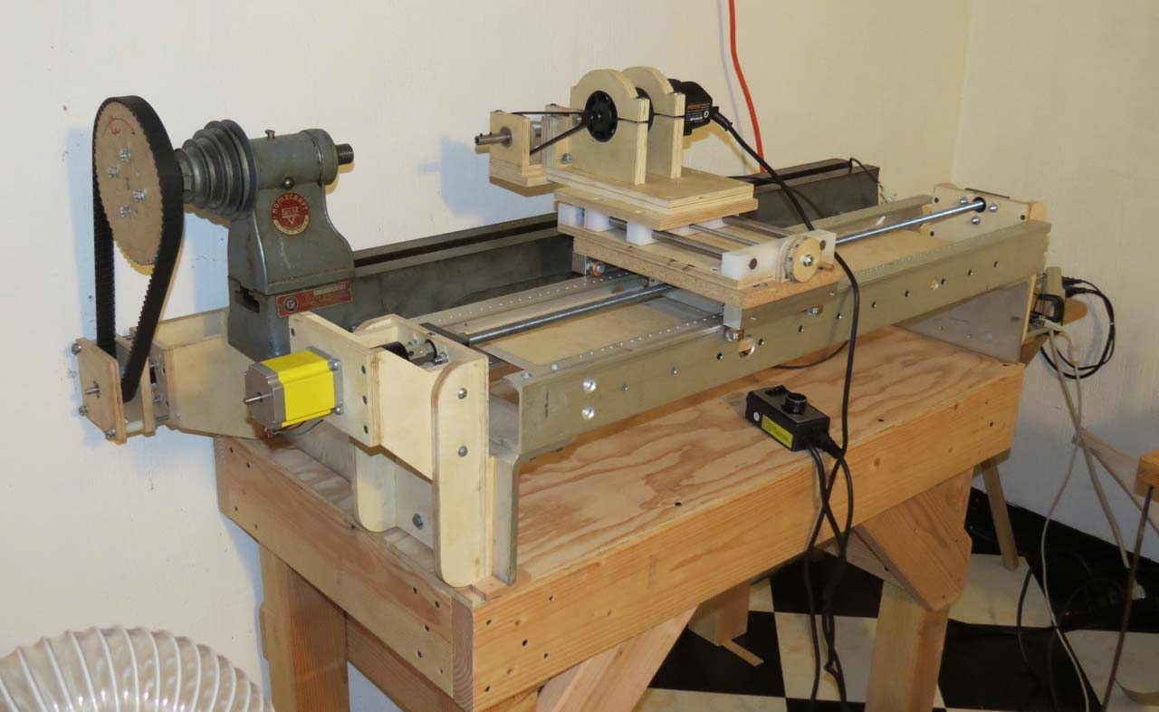The original router lathe with internal thread carriage attached