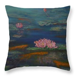 Monet style koi wate lilies throw pillow