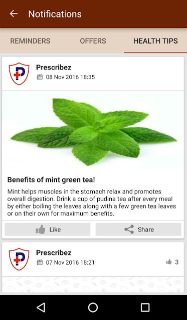 Health tips feature added in Prescribez App2