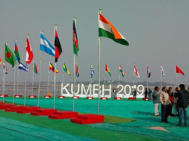 Heads of Missions of over 70 countries hoist flags at Kumbh Mela site