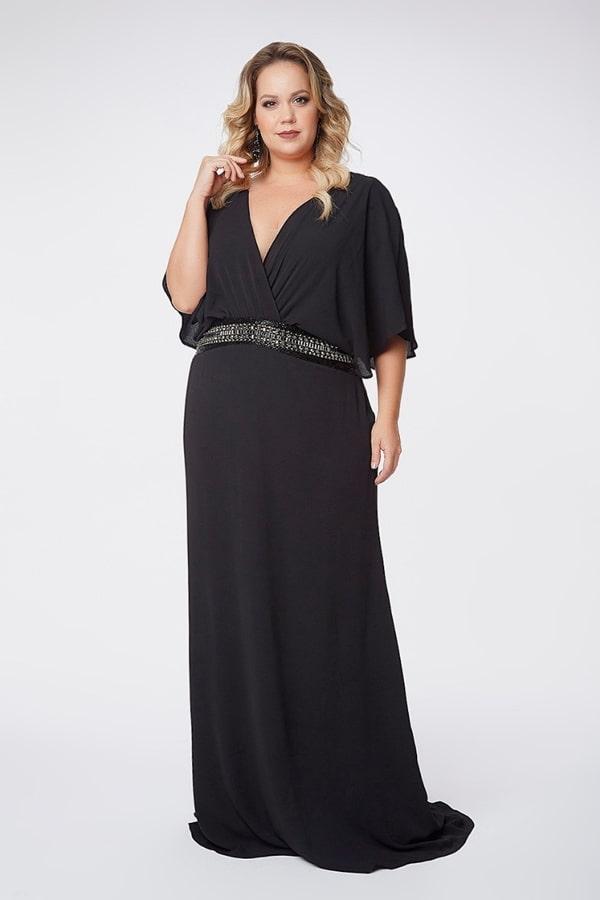 vestido longo preto para mãe dos noivos