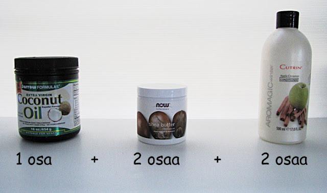 tehohoito itse tehty tehohoitoaine kookosöljy sheavoi hoitoaine diy tehohoito tehohoitsikka hiushoitoaine hiushoito iHerb