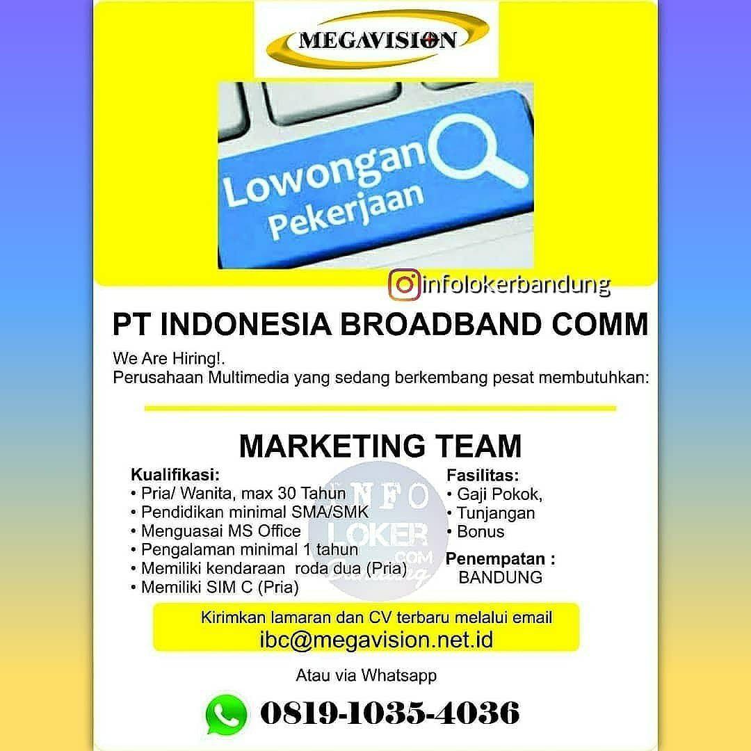 Lowongan Kerja PT. Indonesia Broadband Communications ( Megavision ) Bandung July 2018