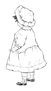 girl baby drawing artwork vintage digital clipart illustration
