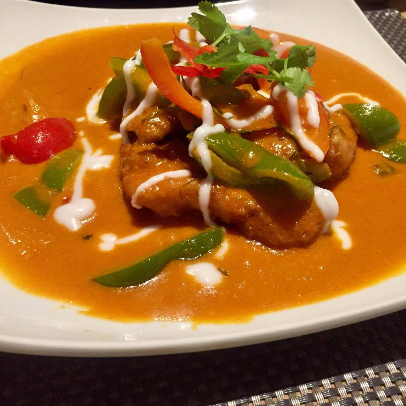 crispy coated sea bass with red curry sauce