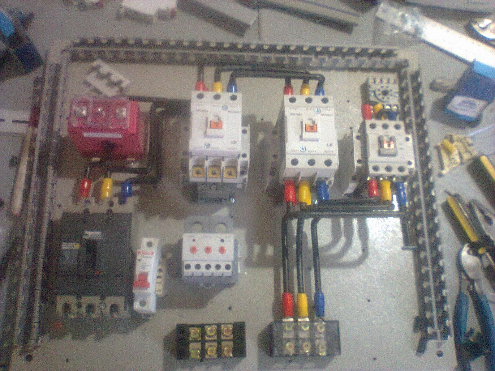 Single Wiring With Diagram Timer Phase Contactor Detailed 230v 3 Star Delta Motor Automatic Starter Electrical Connections