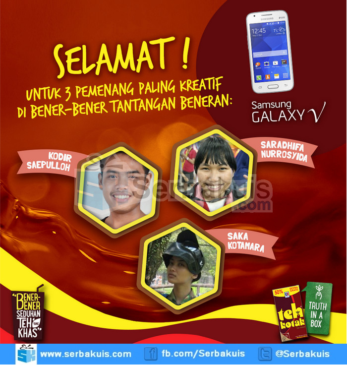 Pemenang 3 SAMSUNG Galaxy V dari Teh Kotak Activity