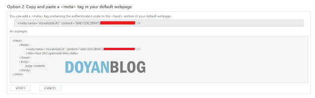 pilih opsi untuk verifikasi bing webmaster