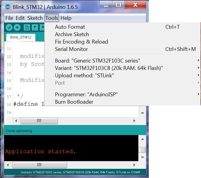 Alictronix: Blink LED on Arm Cortex M3 STM32F103c8t6 Dev board + ST
