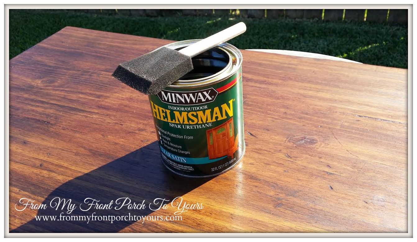 from my front porch to yours- kitchen island stain project