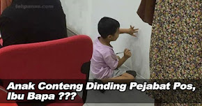 Thumbnail image for (Gambar) Anak Conteng Dinding Pejabat Pos, Ibu Bapa Sibuk Main Handphone