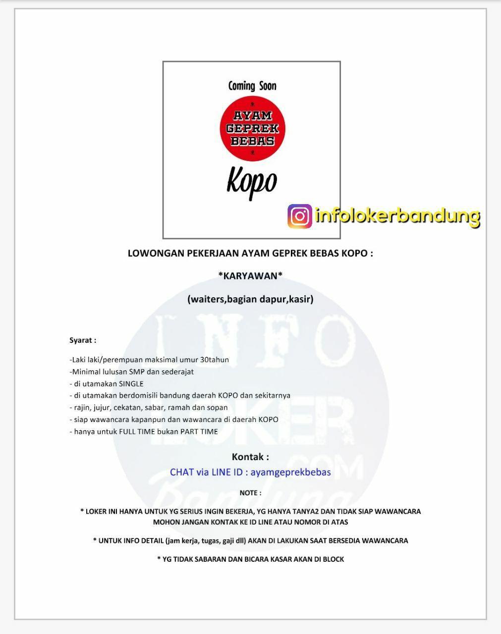 Lowongan Kerja Ayam Geprek Bebas Kopo Bandung Oktober 2017