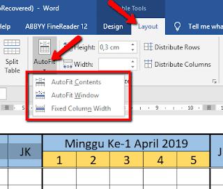Cara Mengubah Lebar Kolom pada Tabel Microsoft Word