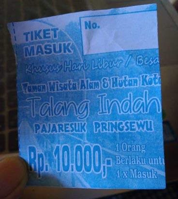 Harga Tiket Talang Indah Pringsewu