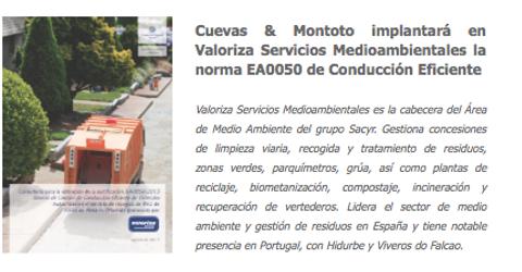 Contrato firmado con Valoriza Servicios Medioambientales para ayudarles a obtener la certificación AENOR EA0050 de Conducción Eficiente en Alcalá de Henares, Madrid.