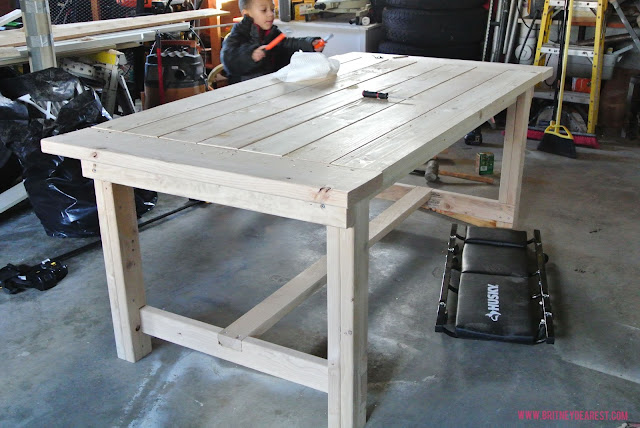 DIY, dining table, wood, pinterest, how to, britney dearest, harvest, farmhouse, plans