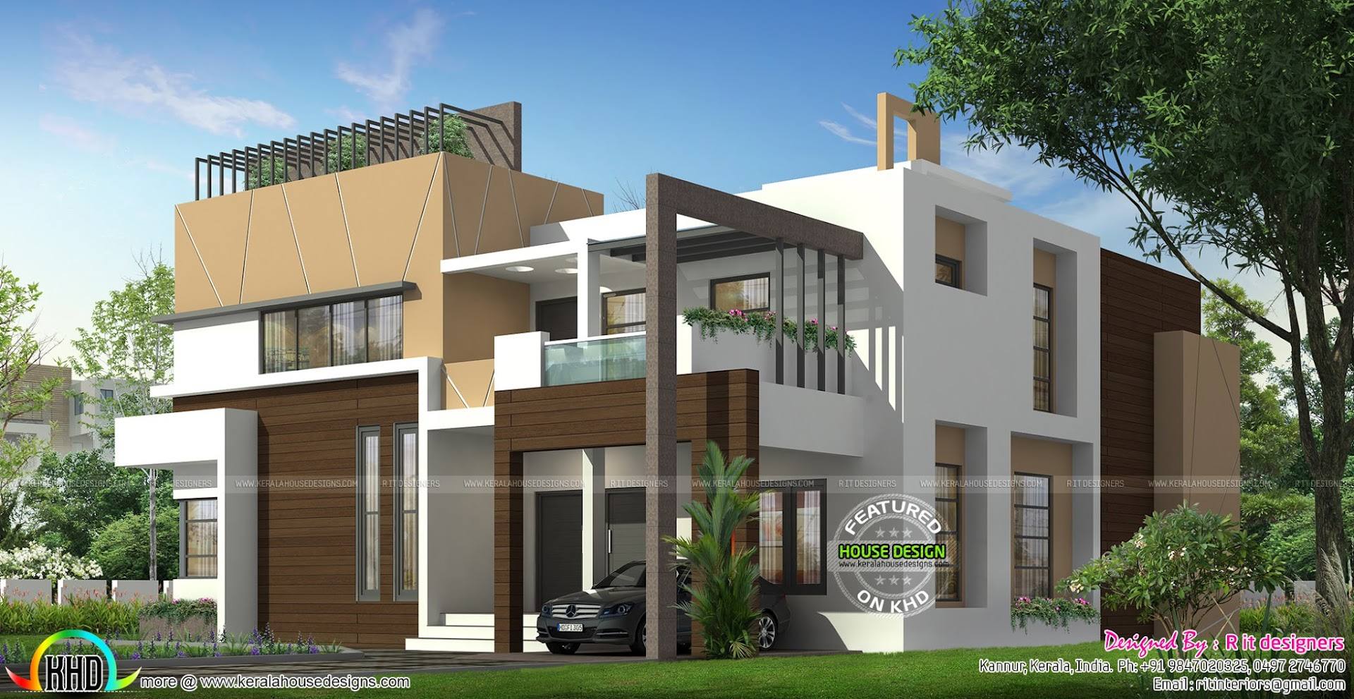 Luxurious 5 bedroom ultra modern home kerala home design for 5 bedroom modern farmhouse plans