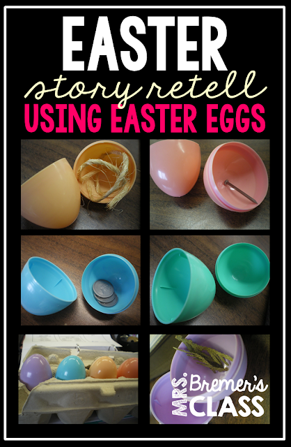 Telling the Christian Easter story using plastic Easter eggs filled with story clues.