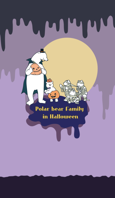 Polar bear Family in Halloween
