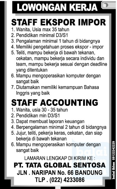 Lowongan Staff PT. Tata Global Sentosa