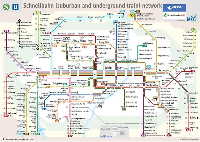 Plano de metro y trenes de Munich, Alemania