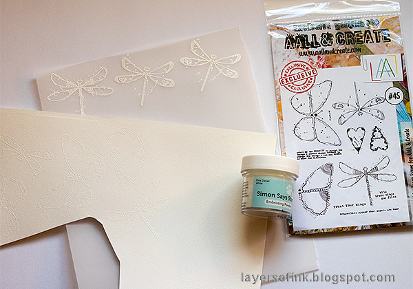 Layers of ink - Butterflies and Dragonflies Tutorial Art Journal Page by Anna-Karin Evaldsson, white embossing the stamps.