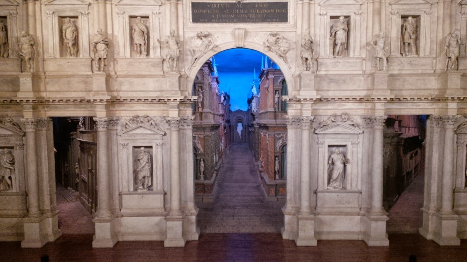 The stage of Teatro Olimpico with the perspective views behind it