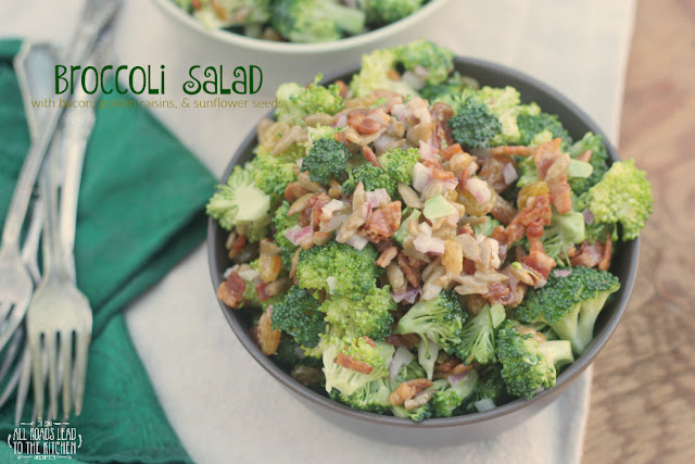 Broccoli Salad with Bacon, Golden Raisins, & Sunflower Seeds
