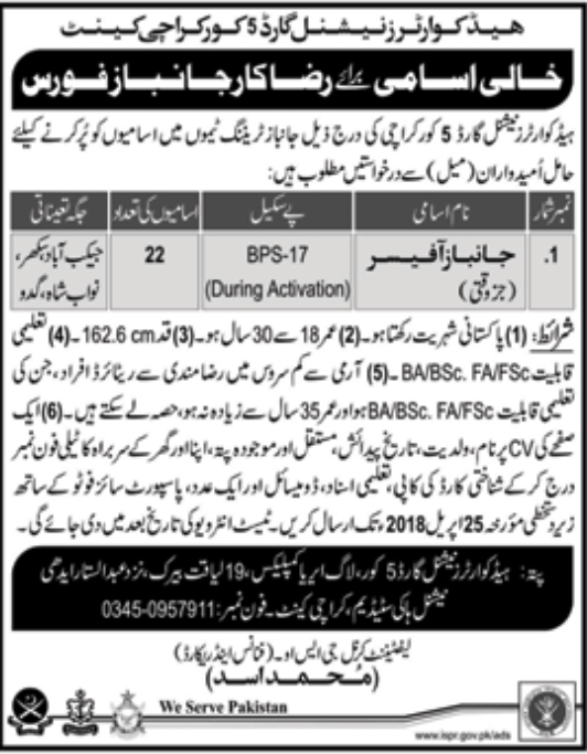 Jobs in Army 2018 at Headquarter National Guards 5 Core Karachi for janbaz officers
