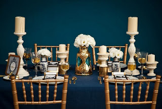navy and gold table