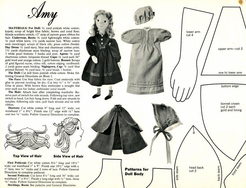 Vintage Cloth Doll Patterns Little Women Designed By Joan