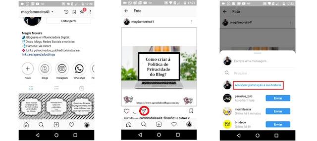 Colocando publicações do Instagram no Stories