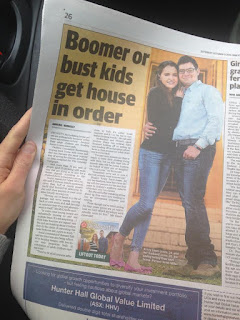 Kristy and Jesse in the Daily Telegraph Newspaper
