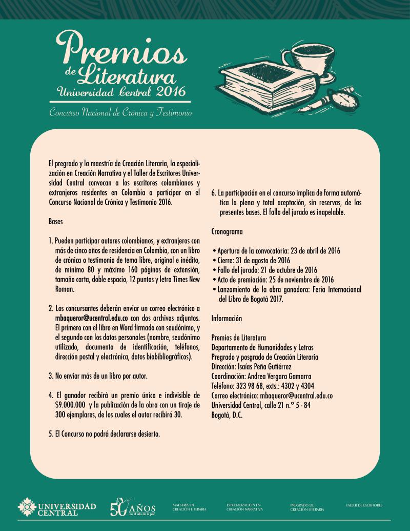 Convocatoria concurso nacional de cr nica testimonio for Convocatoria concurso docente 2016