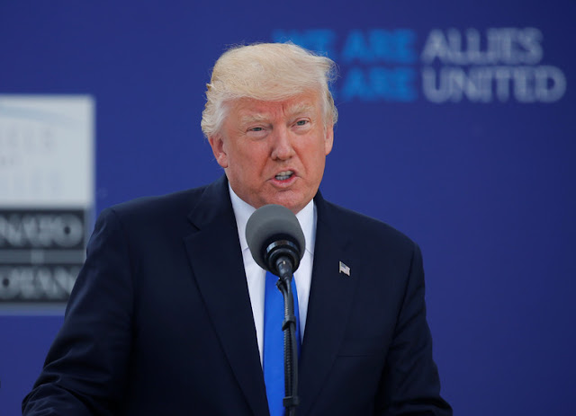 Donald Trump delivered a speech at NATO's new headquarters in Brussels at the beginning of the summit