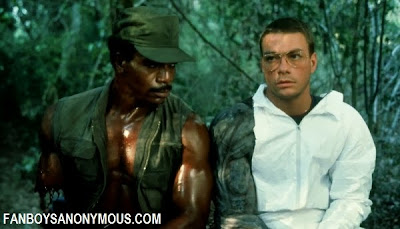 Jean Claude Van Damme Predator, Jean Claude Van Damme and Carl Weathers on the set of Predator