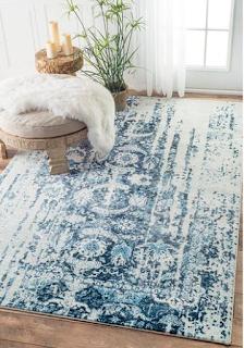 blue distressed rug