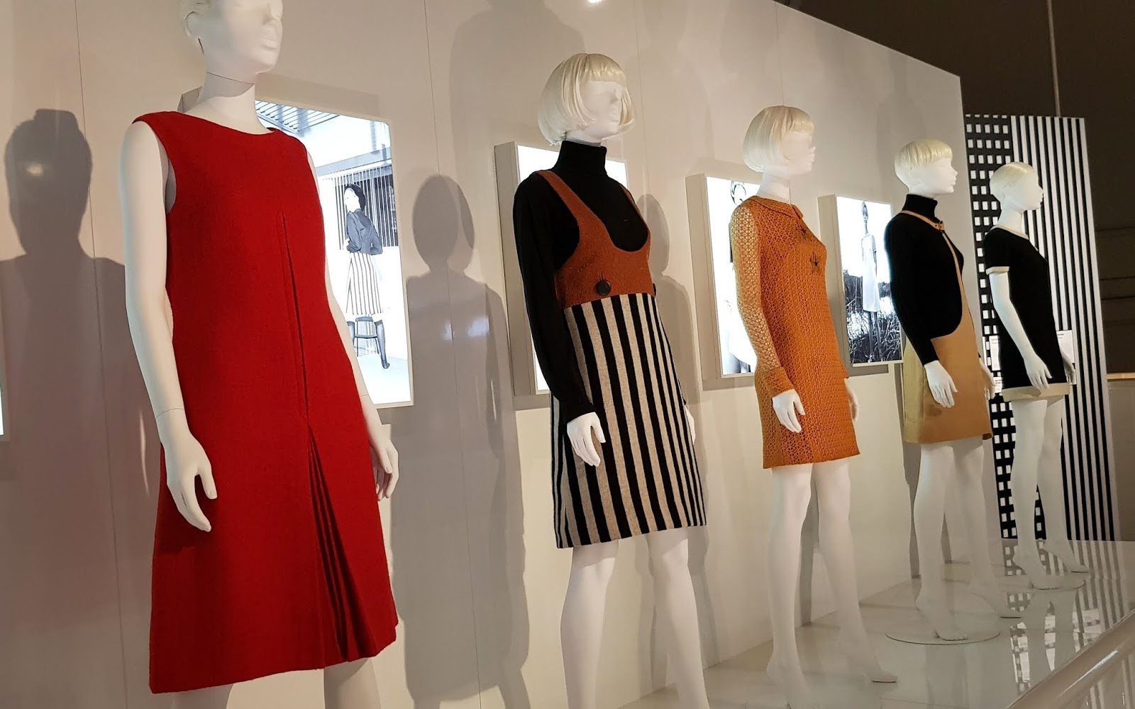A selection of outfits from Mary Quant in the exhibition at the London V and A Museum