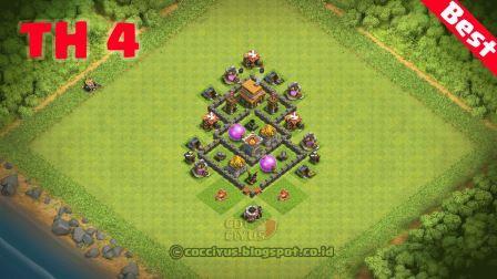 Pertahanan clash of clans town hall 4 base farming