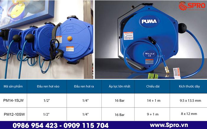 Phân phối cuộn dây hơi tự rút chính hãng dài 15m PUMA PM14-15LW trên toàn quốc