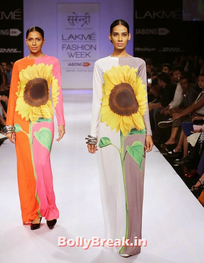 Models in Yogesh Chaudhary creations, Bizarre Dresses from Fashion Show - LFW