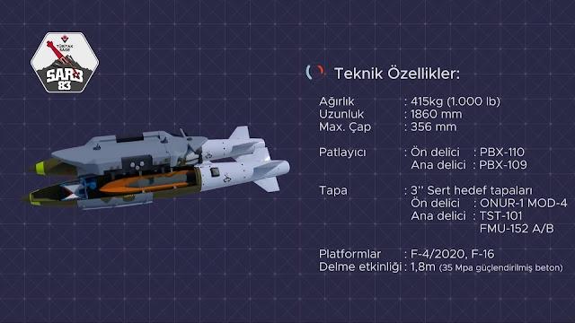 """Ağırlık: 415 kg  Uzunluk: 1860 mm  Max Çap: 356 mm  Patlayıcı: Ön delici: PBX-110           Ana delici: PBX-109  Tapa: 3""""sert hedef tapaları:  Ön delici:ONUR-1 MOD-4                            Ana delici: TST-101                                      FMU-152 A/B  Platformlar F4/2020,F-16  Delme etkinliği1,8 m (35Mpa güçlendirilmiş beton)"""