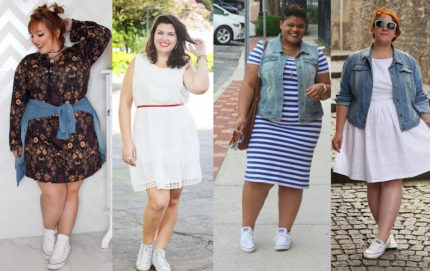 look casual confortavel com tenis plus size