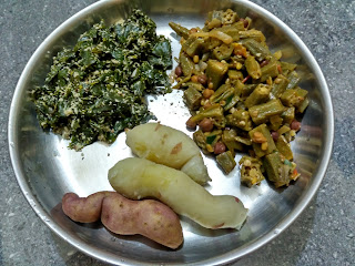 Steemed sweet potato, Ladies finger Chickpea sprouts curry, Sesbania poriyal
