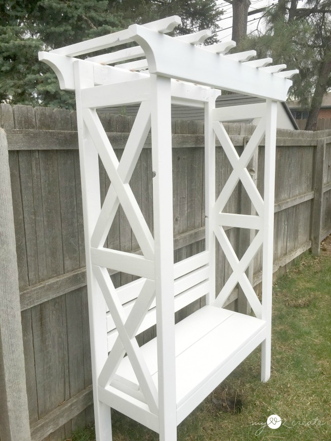 build an x arbor with a bench for your home