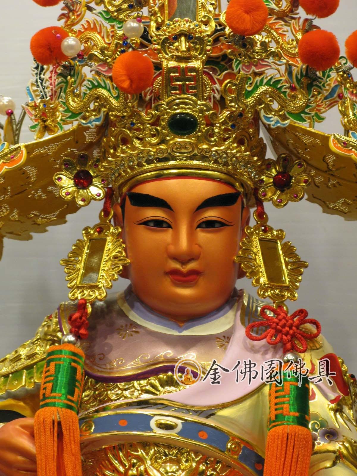 金佛園佛具: QG1618五府千歲吳府王爺神像脫椅G樟木雕1尺6法拉利漆